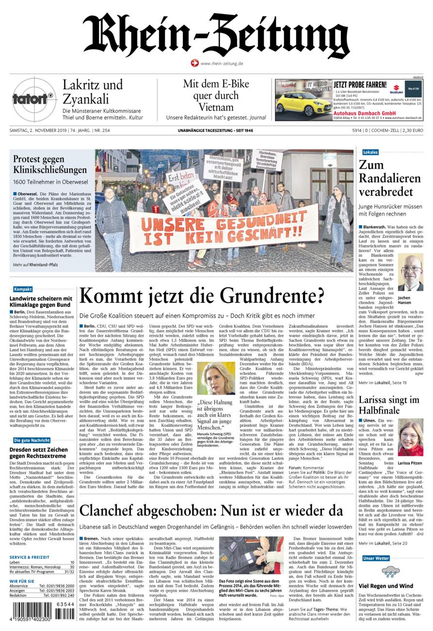 Rhein-Zeitung Kreis Cochem-Zell vom Samstag, 02.11.2019