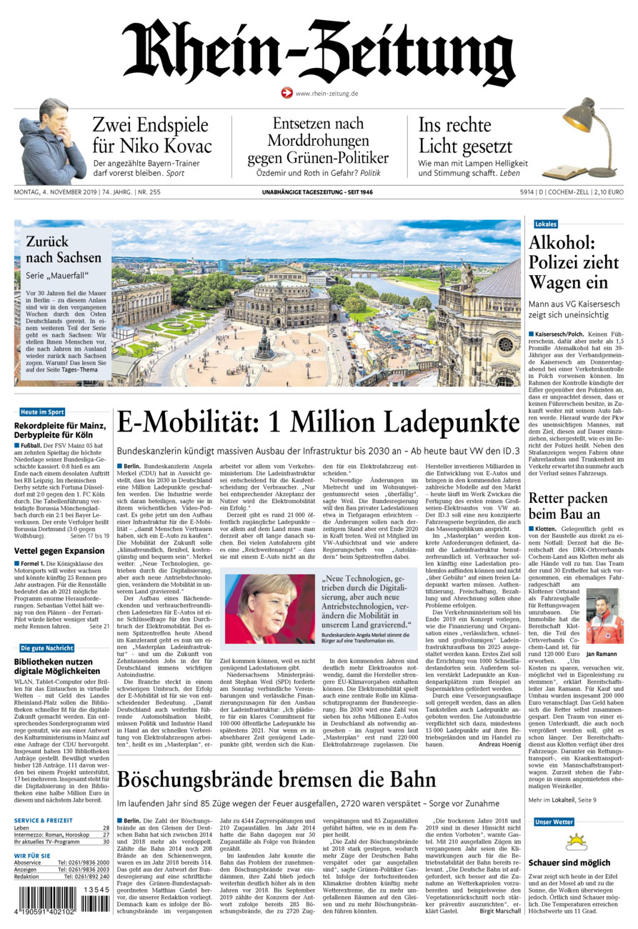 Rhein-Zeitung Kreis Cochem-Zell vom Montag, 04.11.2019