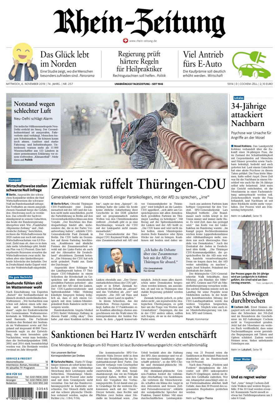 Rhein-Zeitung Kreis Cochem-Zell vom Mittwoch, 06.11.2019