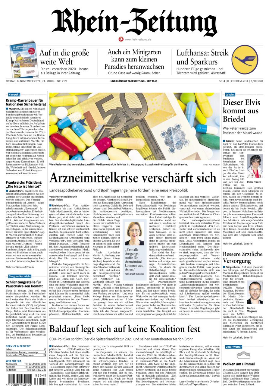 Rhein-Zeitung Kreis Cochem-Zell vom Freitag, 08.11.2019