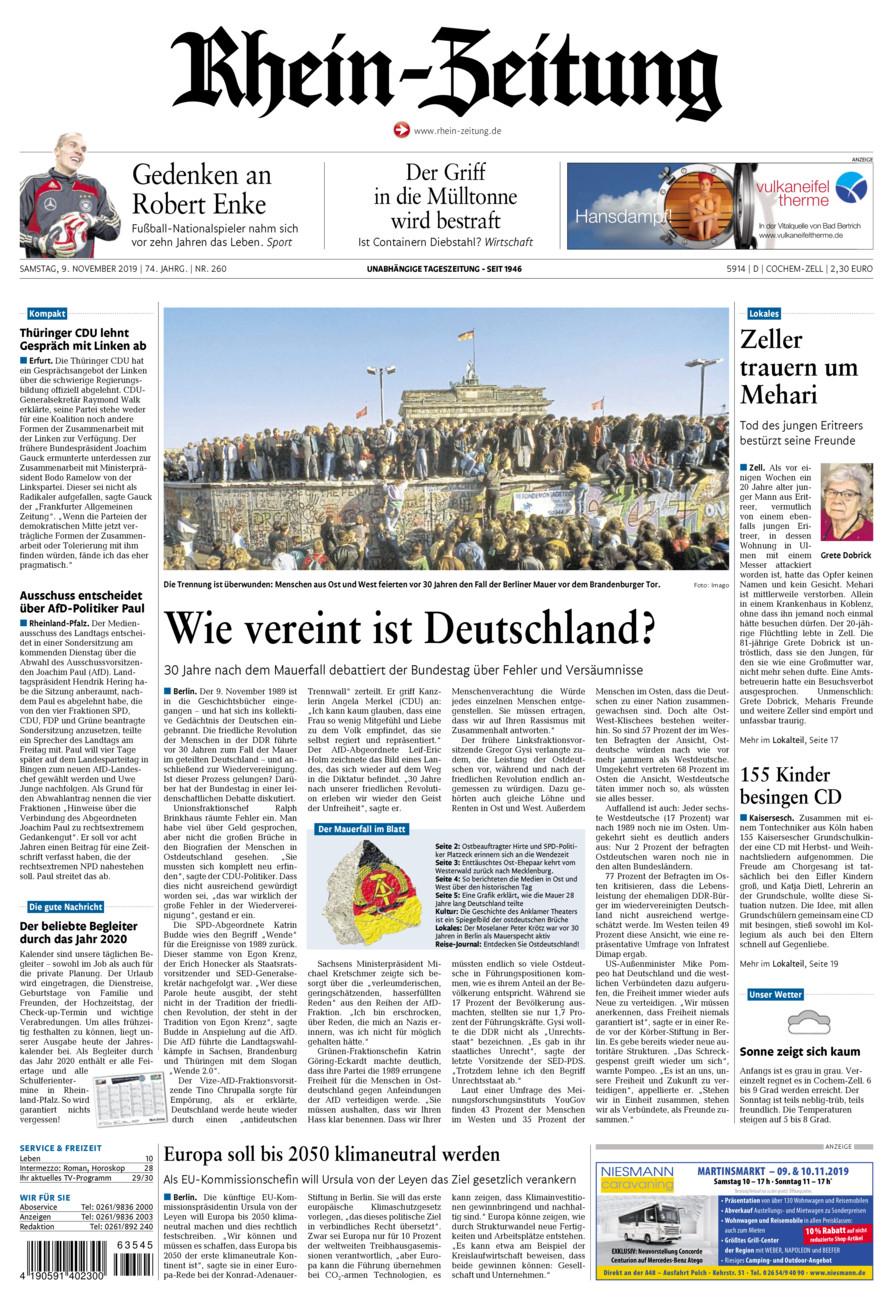 Rhein-Zeitung Kreis Cochem-Zell vom Samstag, 09.11.2019