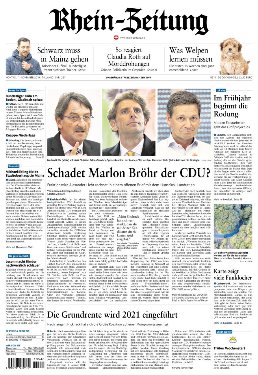 Rhein-Zeitung Kreis Cochem-Zell vom Montag, 11.11.2019