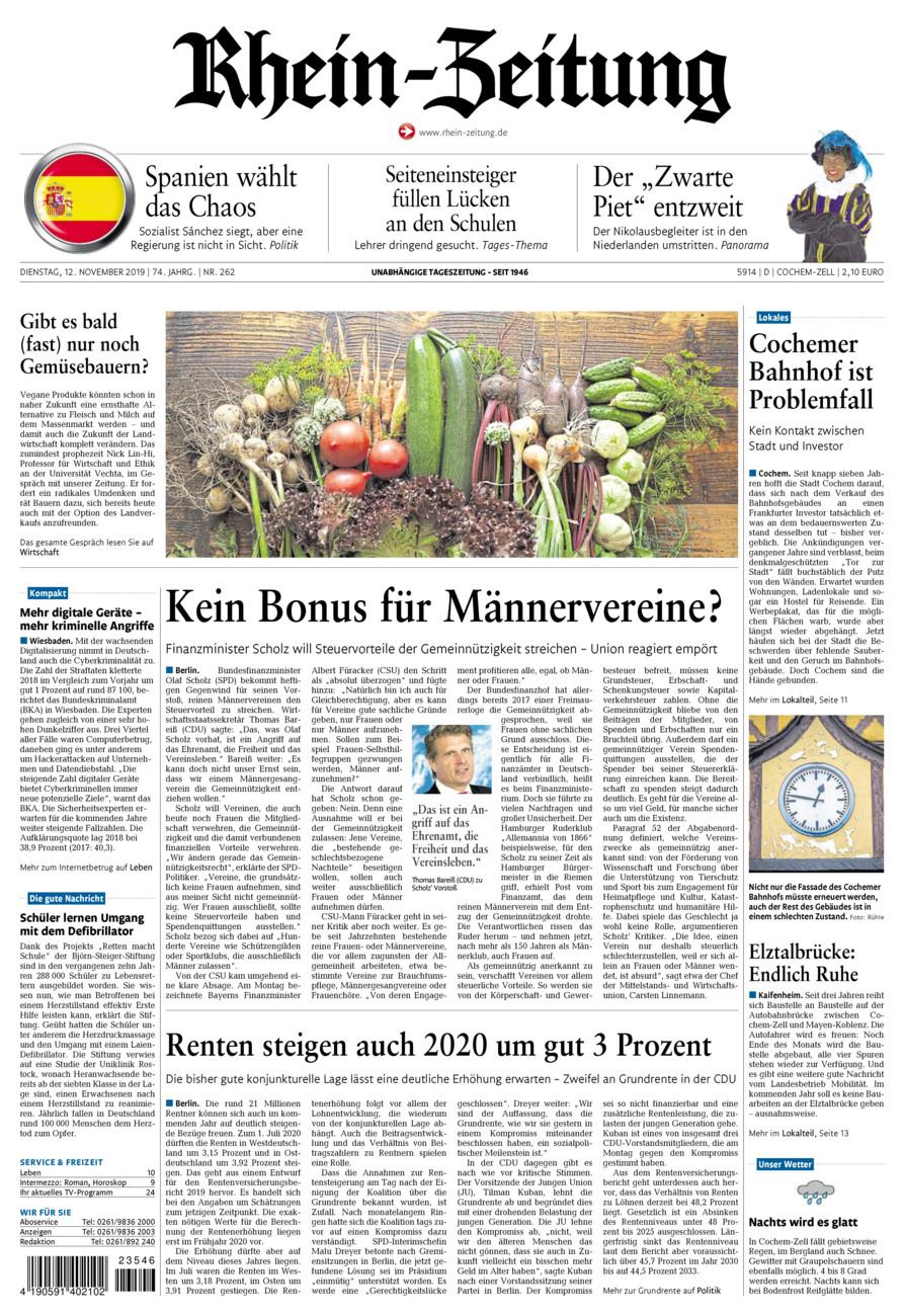 Rhein-Zeitung Kreis Cochem-Zell vom Dienstag, 12.11.2019