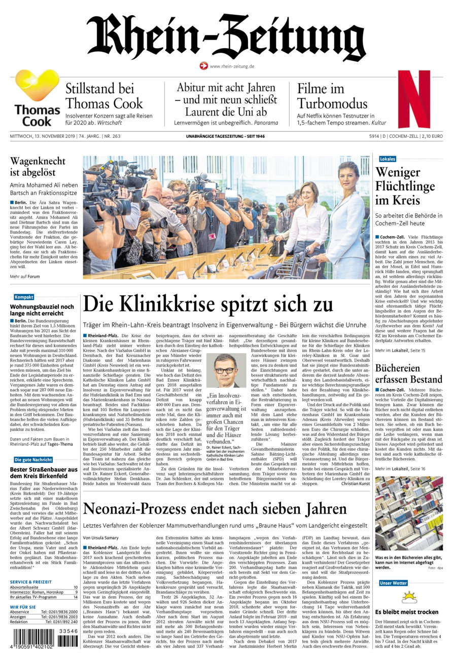Rhein-Zeitung Kreis Cochem-Zell vom Mittwoch, 13.11.2019