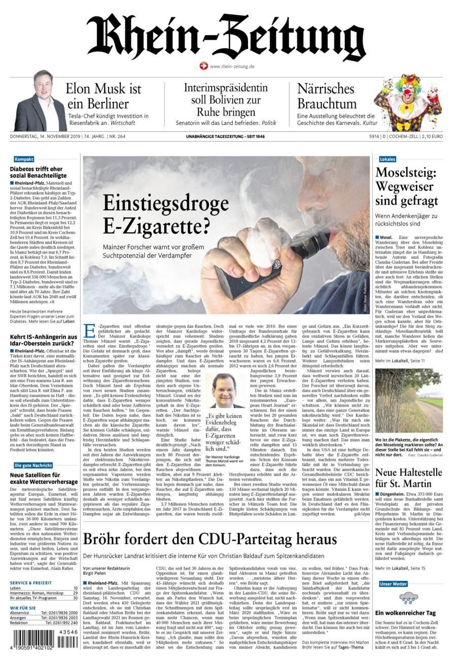Rhein-Zeitung Kreis Cochem-Zell vom Donnerstag, 14.11.2019