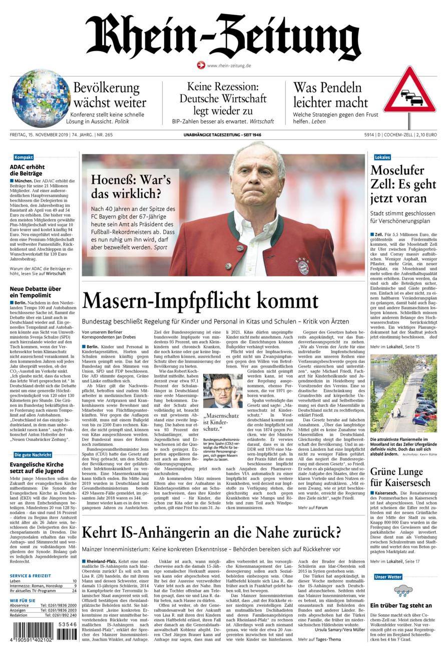 Rhein-Zeitung Kreis Cochem-Zell vom Freitag, 15.11.2019