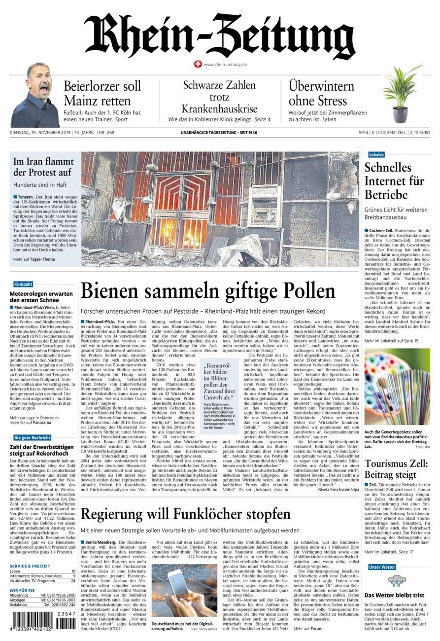 Rhein-Zeitung Kreis Cochem-Zell vom Dienstag, 19.11.2019