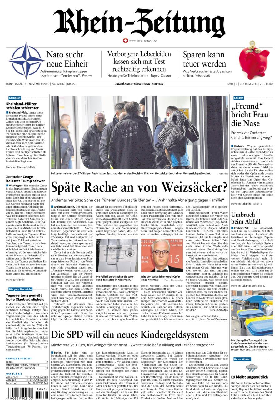 Rhein-Zeitung Kreis Cochem-Zell vom Donnerstag, 21.11.2019