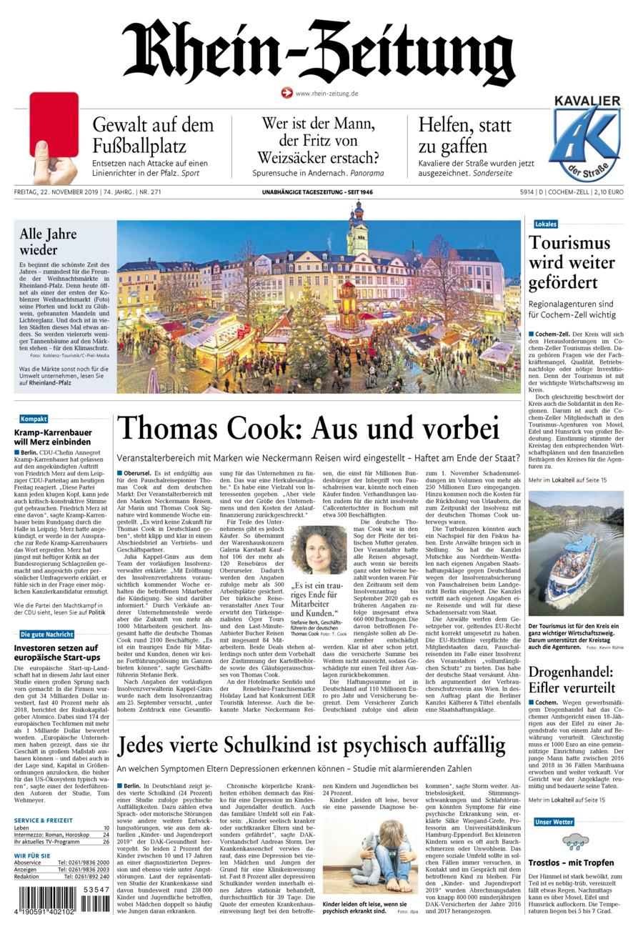 Rhein-Zeitung Kreis Cochem-Zell vom Freitag, 22.11.2019