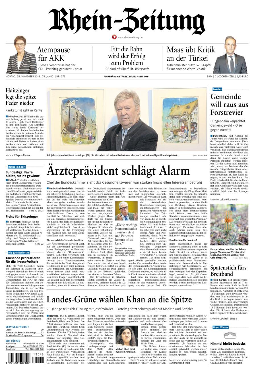 Rhein-Zeitung Kreis Cochem-Zell vom Montag, 25.11.2019