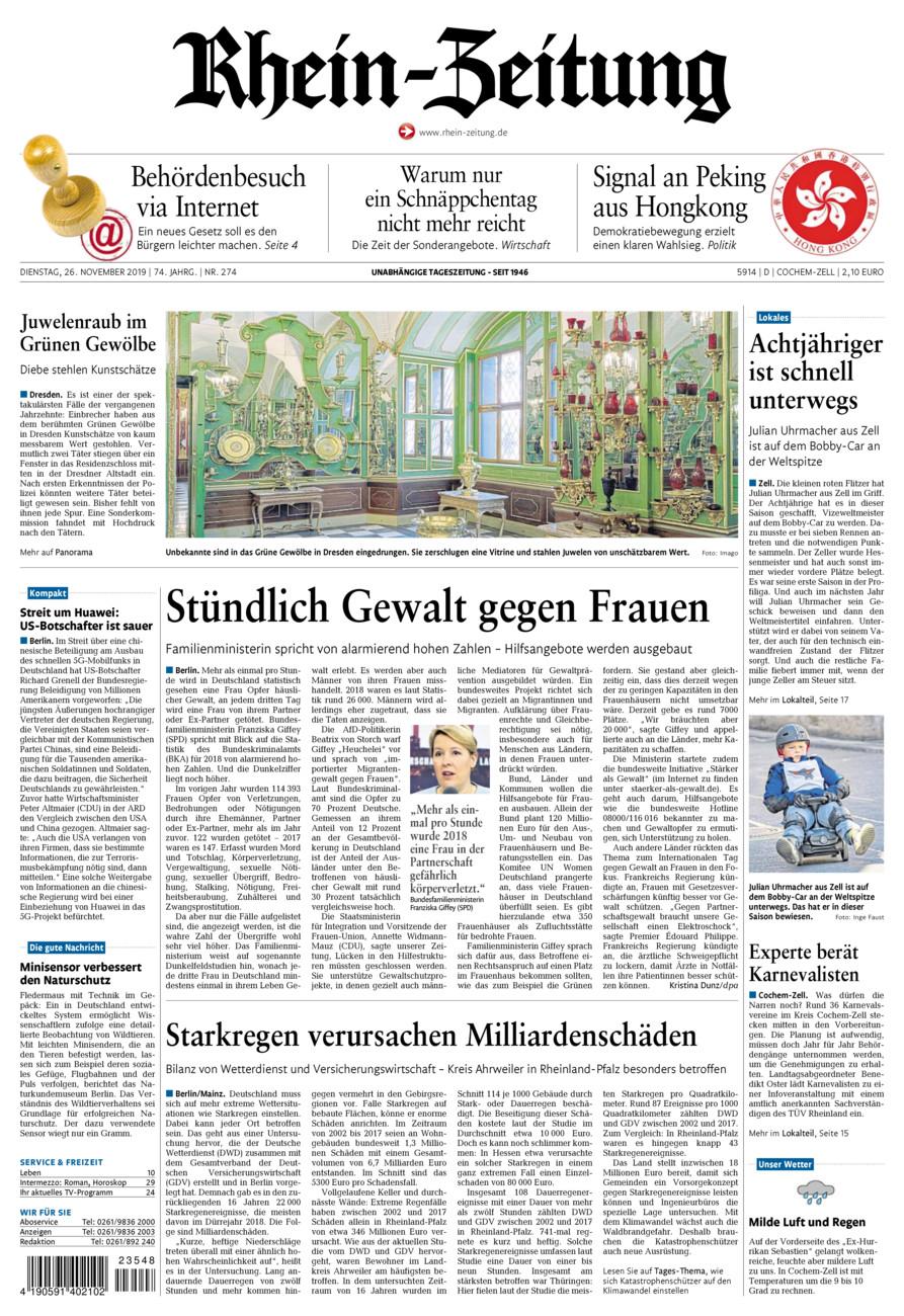 Rhein-Zeitung Kreis Cochem-Zell vom Dienstag, 26.11.2019