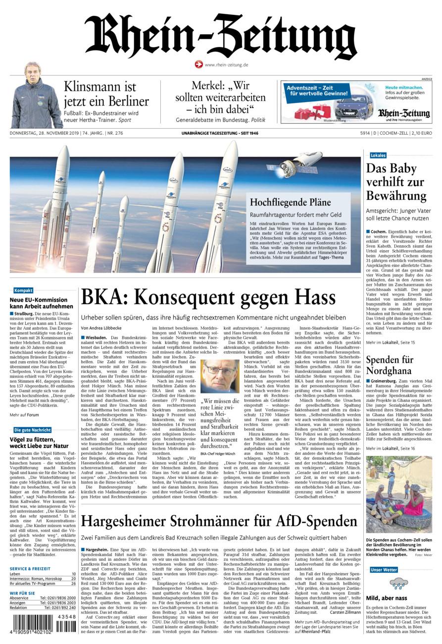Rhein-Zeitung Kreis Cochem-Zell vom Donnerstag, 28.11.2019