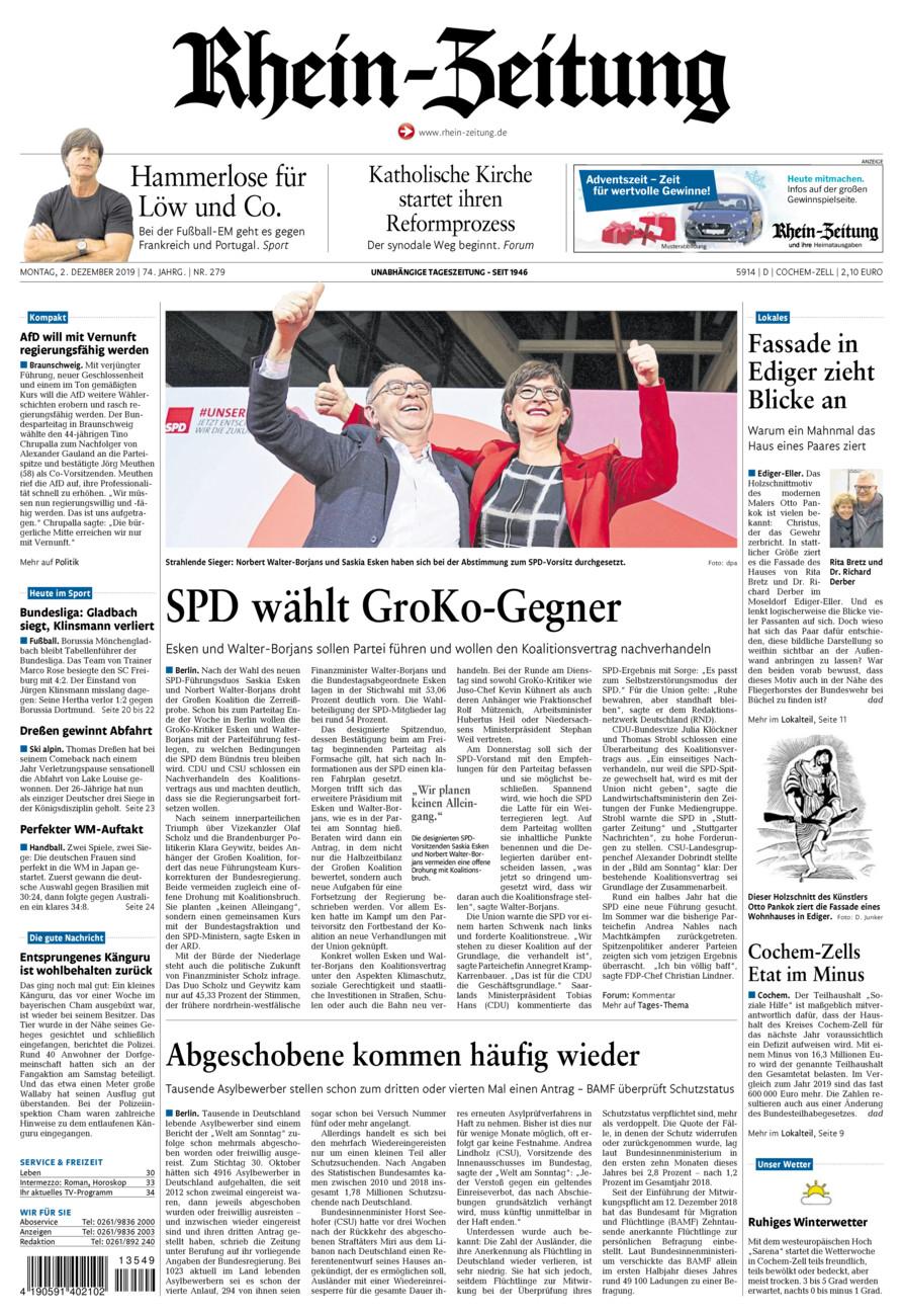 Rhein-Zeitung Kreis Cochem-Zell vom Montag, 02.12.2019