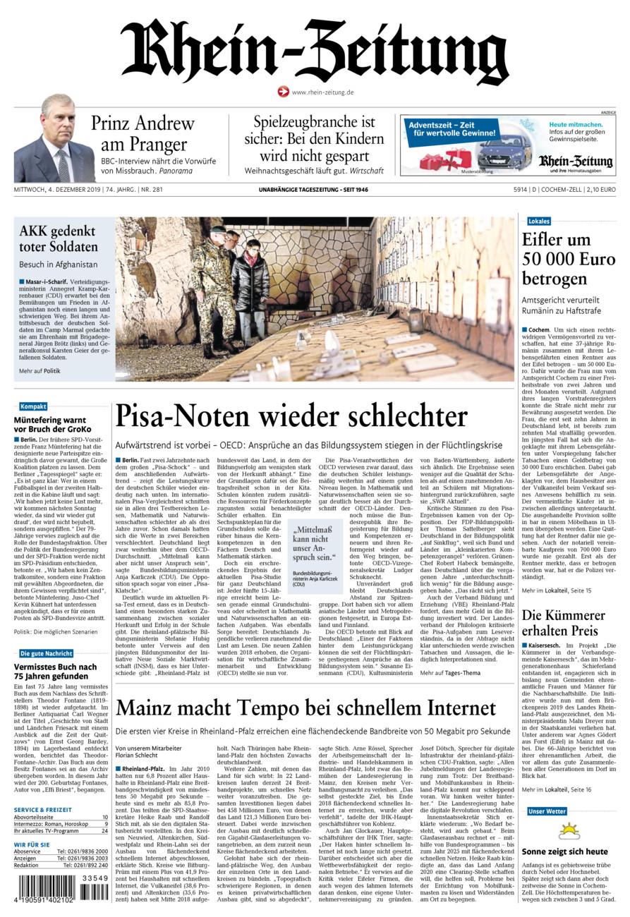 Rhein-Zeitung Kreis Cochem-Zell vom Mittwoch, 04.12.2019