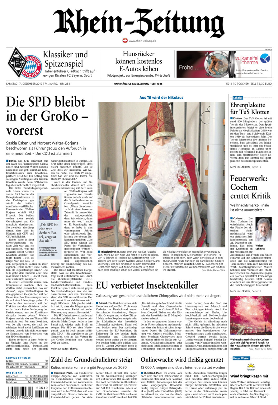 Rhein-Zeitung Kreis Cochem-Zell vom Samstag, 07.12.2019