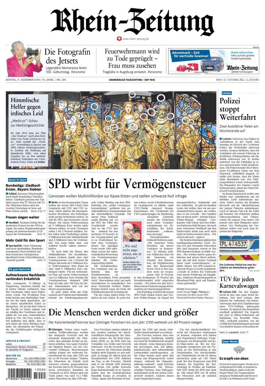 Rhein-Zeitung Kreis Cochem-Zell vom Montag, 09.12.2019
