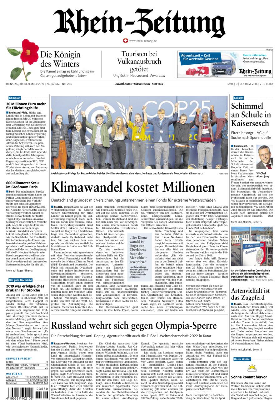 Rhein-Zeitung Kreis Cochem-Zell vom Dienstag, 10.12.2019