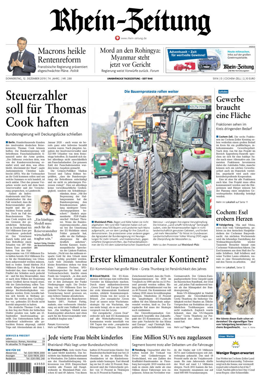 Rhein-Zeitung Kreis Cochem-Zell vom Donnerstag, 12.12.2019