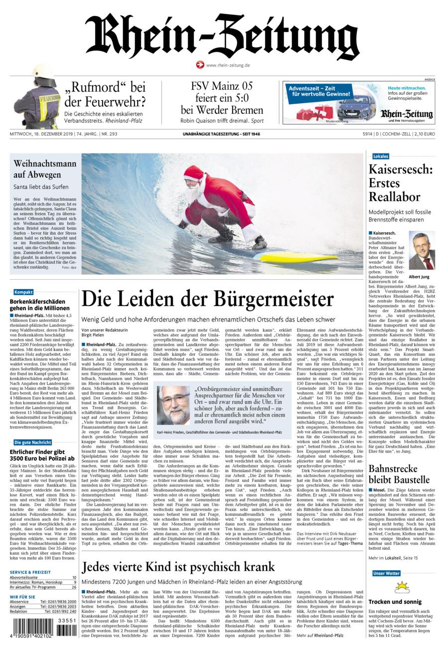 Rhein-Zeitung Kreis Cochem-Zell vom Mittwoch, 18.12.2019