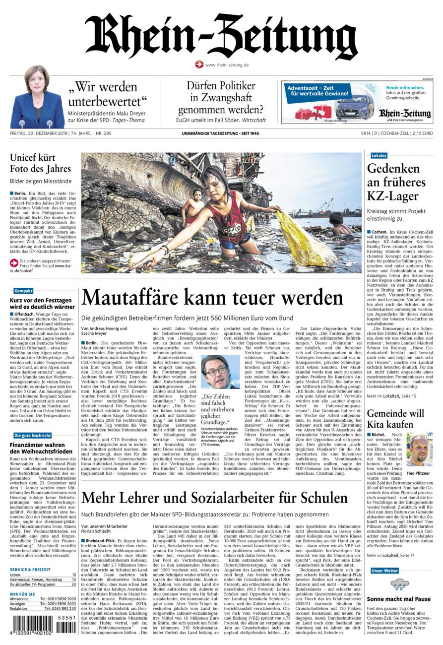Rhein-Zeitung Kreis Cochem-Zell vom Freitag, 20.12.2019