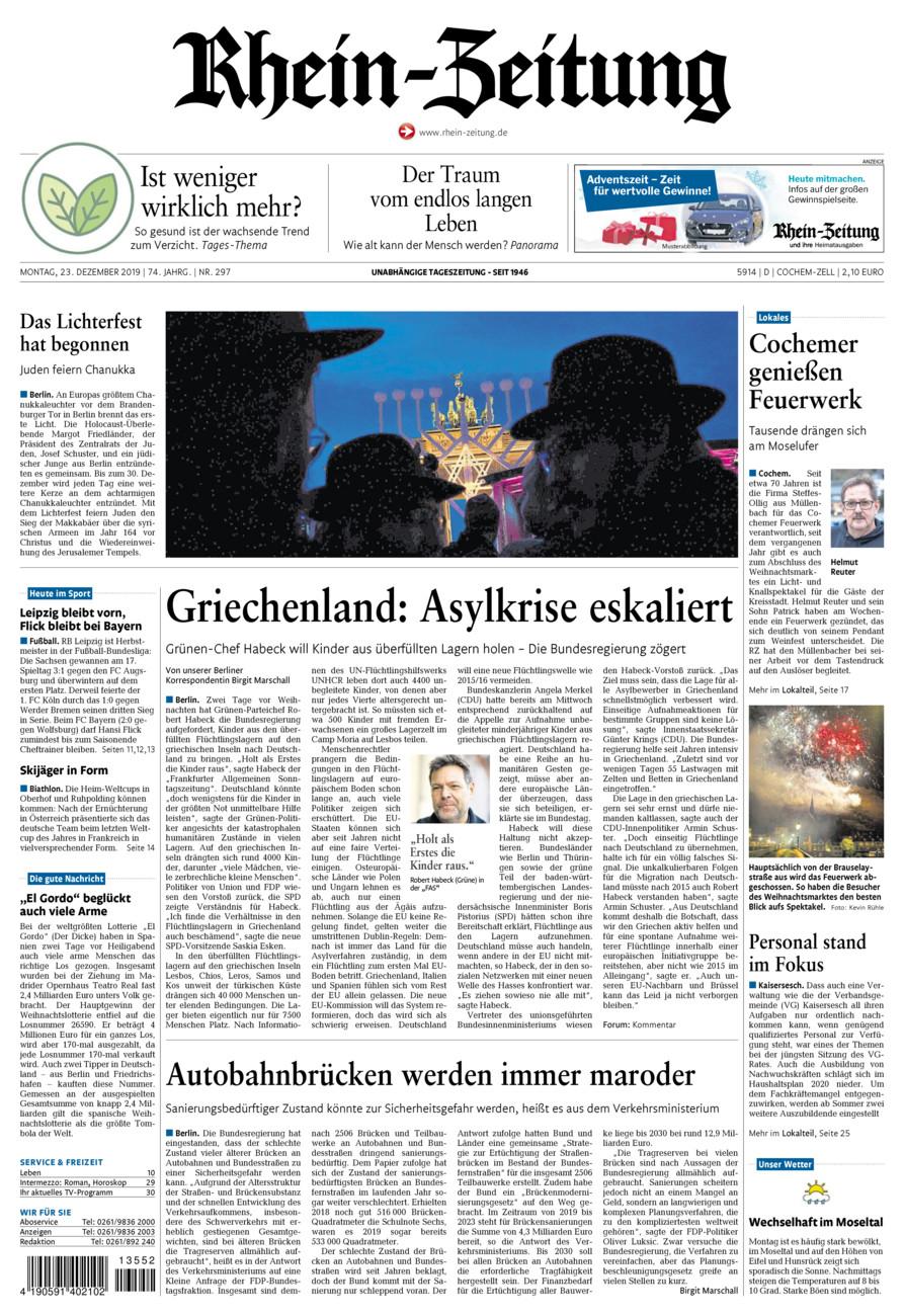 Rhein-Zeitung Kreis Cochem-Zell vom Montag, 23.12.2019