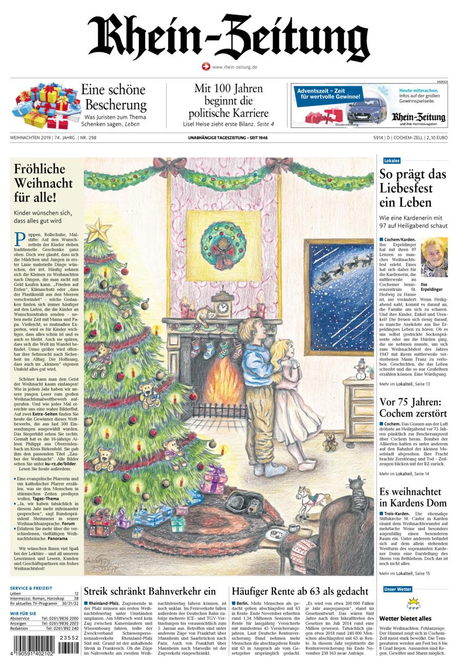 Rhein-Zeitung Kreis Cochem-Zell vom Dienstag, 24.12.2019