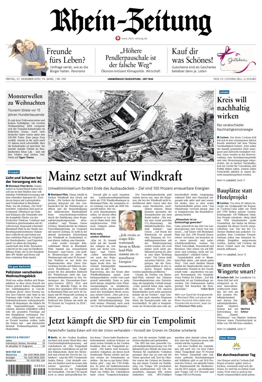 Rhein-Zeitung Kreis Cochem-Zell vom Freitag, 27.12.2019