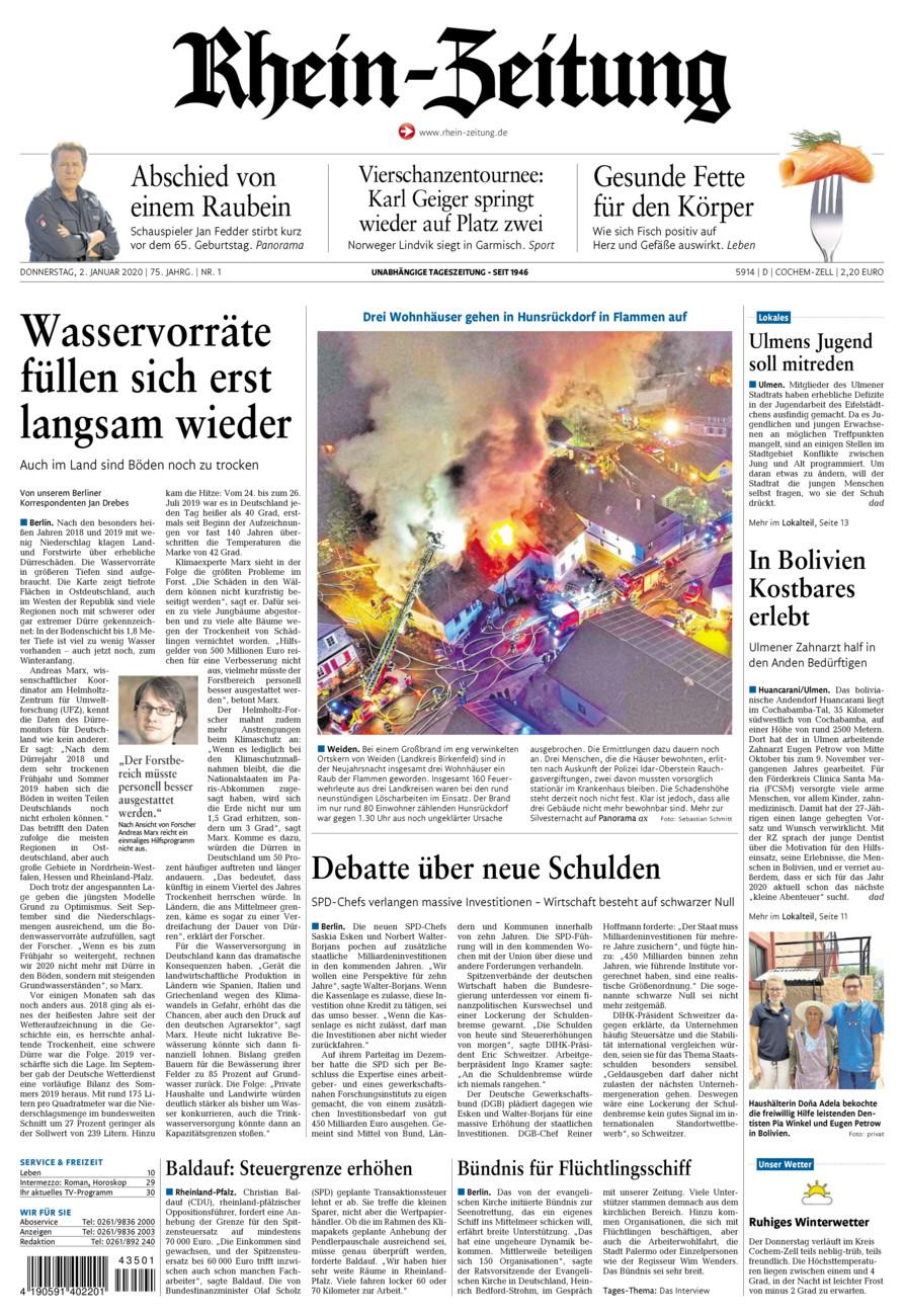 Rhein-Zeitung Kreis Cochem-Zell vom Donnerstag, 02.01.2020