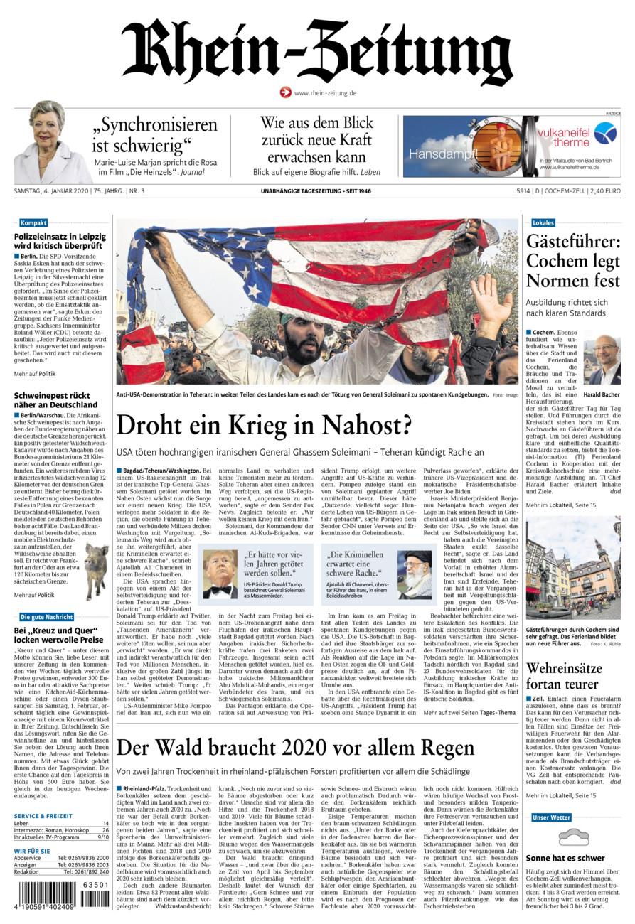 Rhein-Zeitung Kreis Cochem-Zell vom Samstag, 04.01.2020