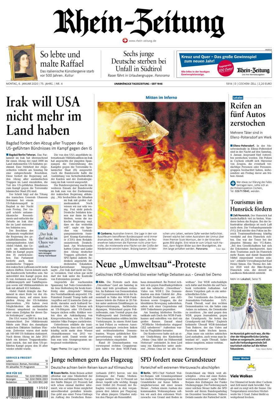 Rhein-Zeitung Kreis Cochem-Zell vom Montag, 06.01.2020