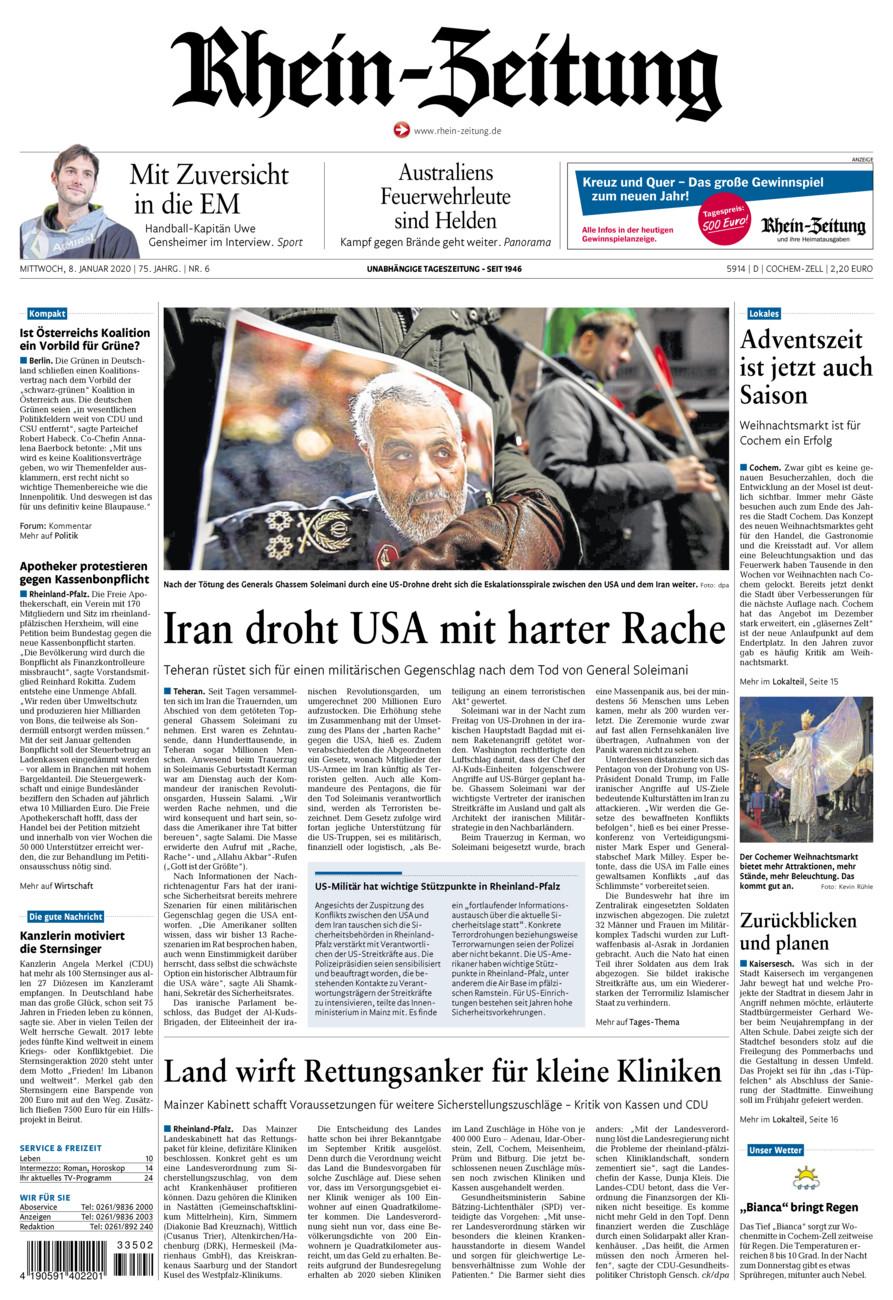 Rhein-Zeitung Kreis Cochem-Zell vom Mittwoch, 08.01.2020