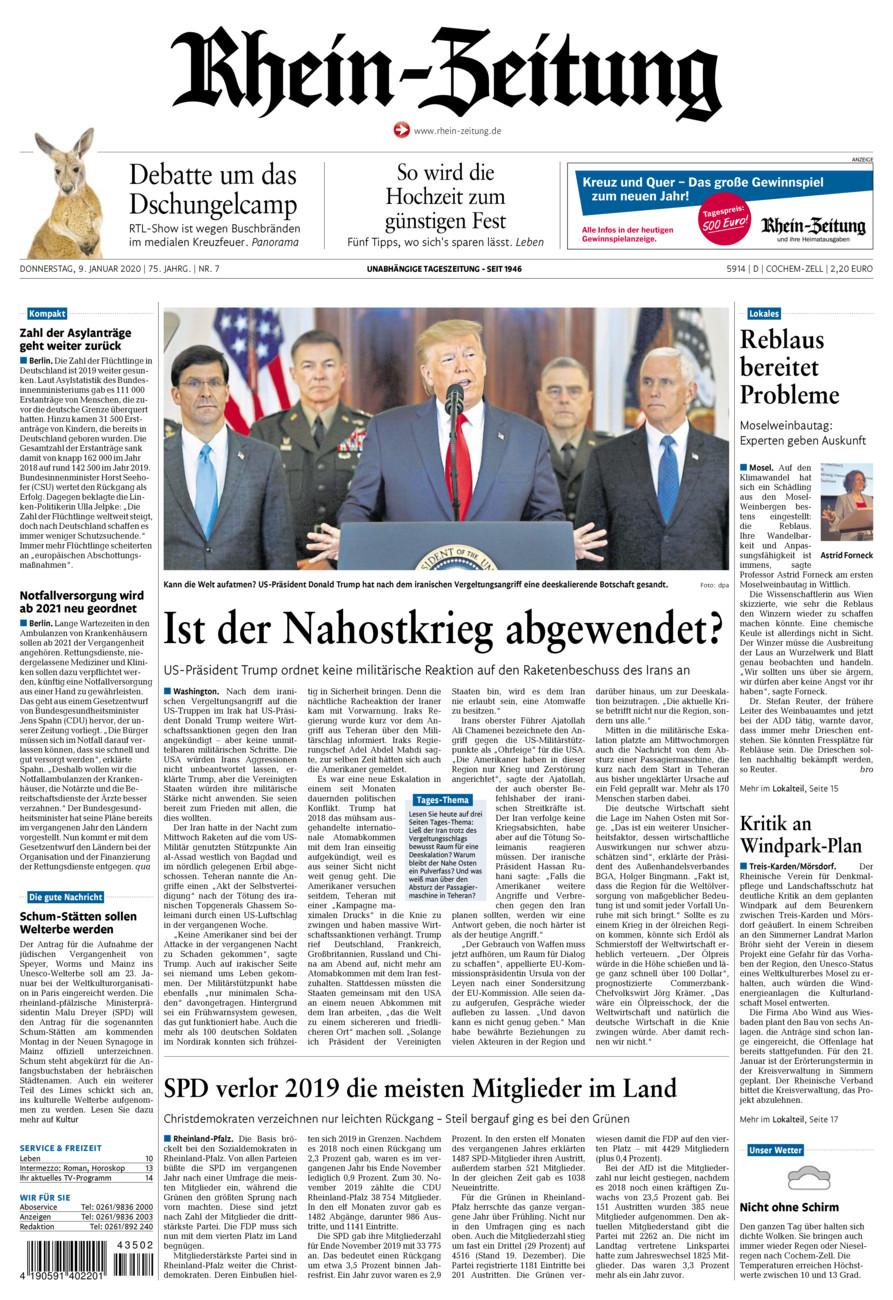 Rhein-Zeitung Kreis Cochem-Zell vom Donnerstag, 09.01.2020