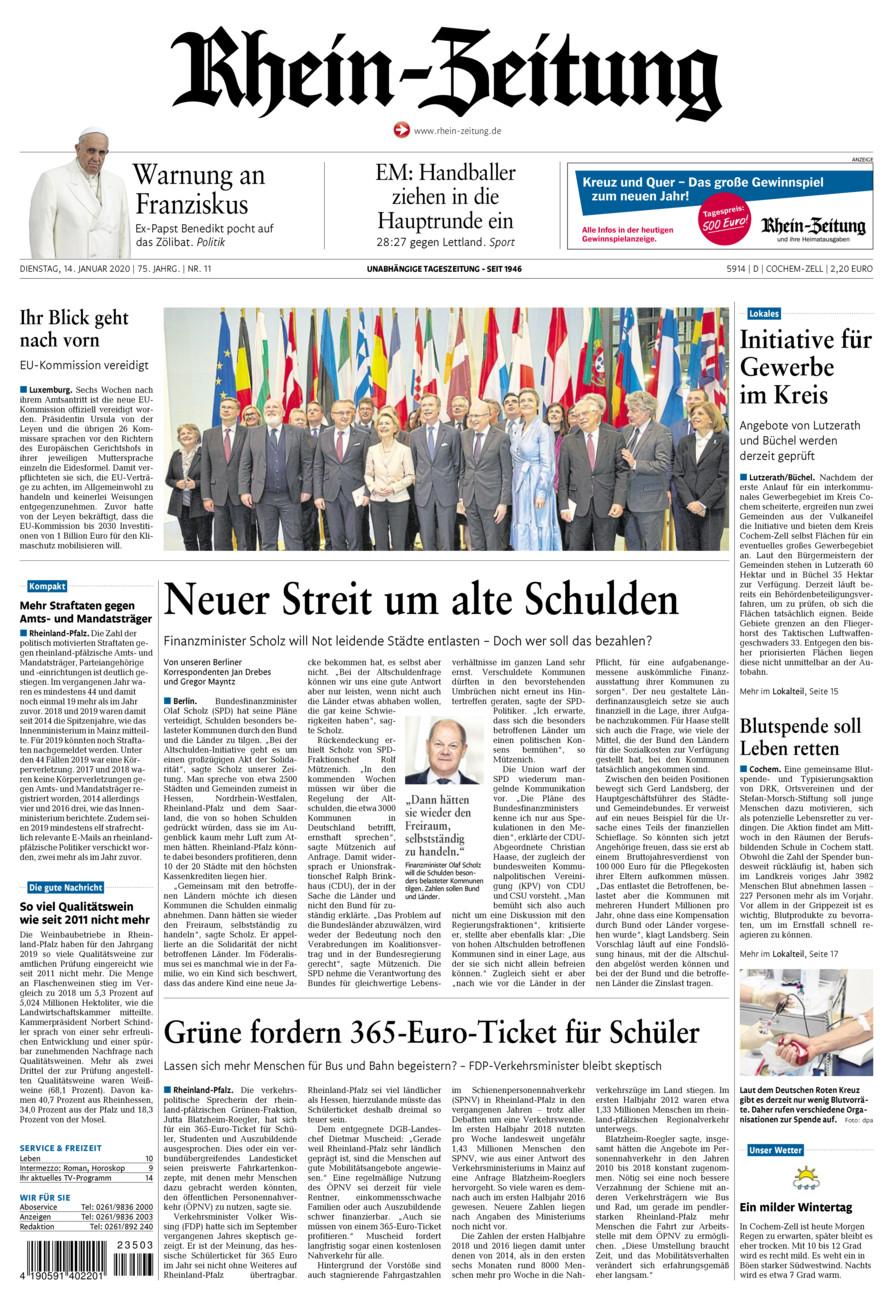 Rhein-Zeitung Kreis Cochem-Zell vom Dienstag, 14.01.2020