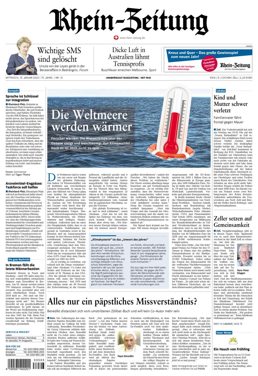Rhein-Zeitung Kreis Cochem-Zell vom Mittwoch, 15.01.2020