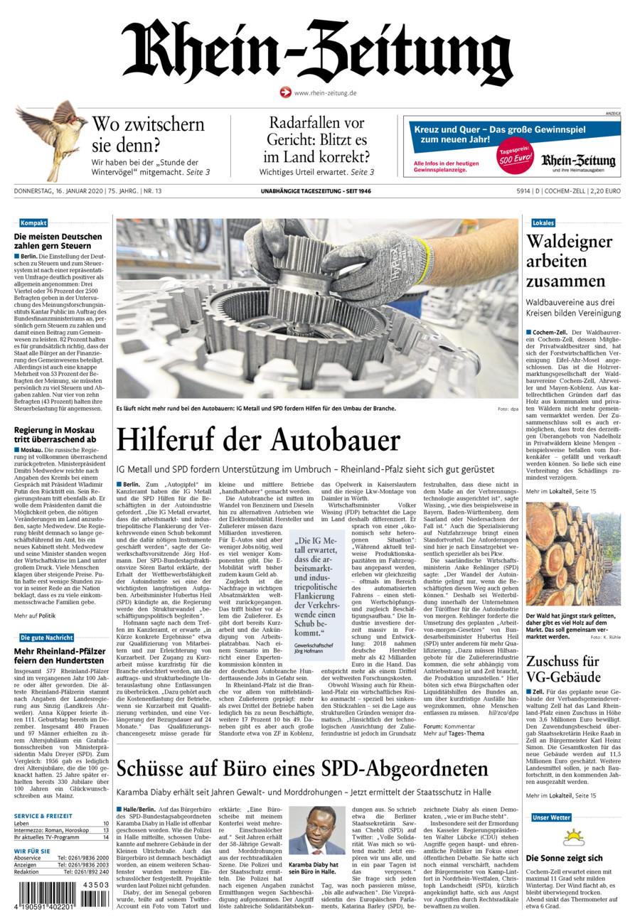 Rhein-Zeitung Kreis Cochem-Zell vom Donnerstag, 16.01.2020