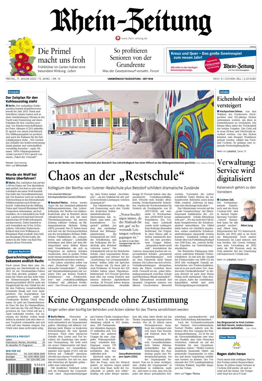 Rhein-Zeitung Kreis Cochem-Zell vom Freitag, 17.01.2020
