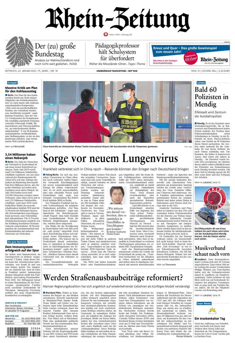 Rhein-Zeitung Kreis Cochem-Zell vom Mittwoch, 22.01.2020