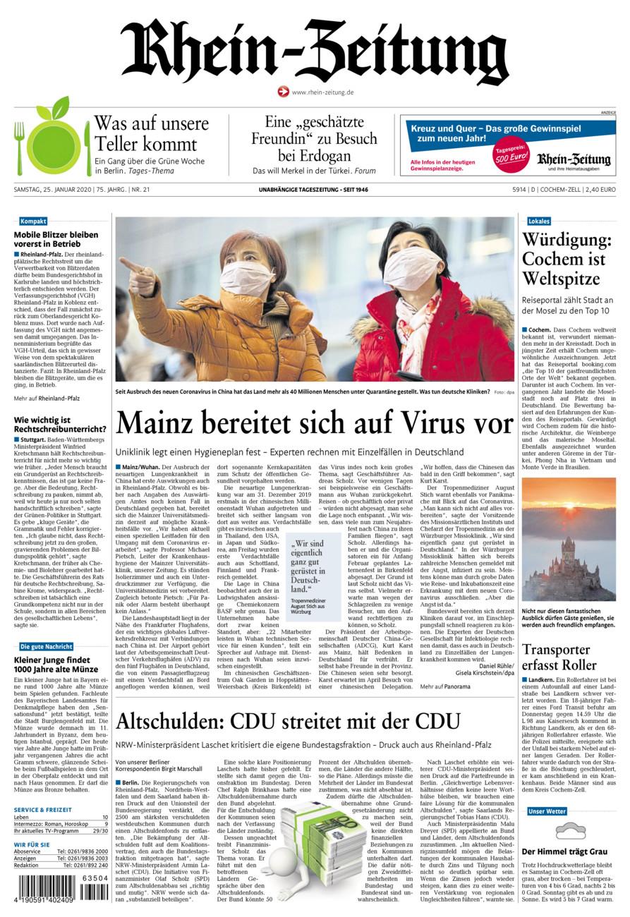 Rhein-Zeitung Kreis Cochem-Zell vom Samstag, 25.01.2020