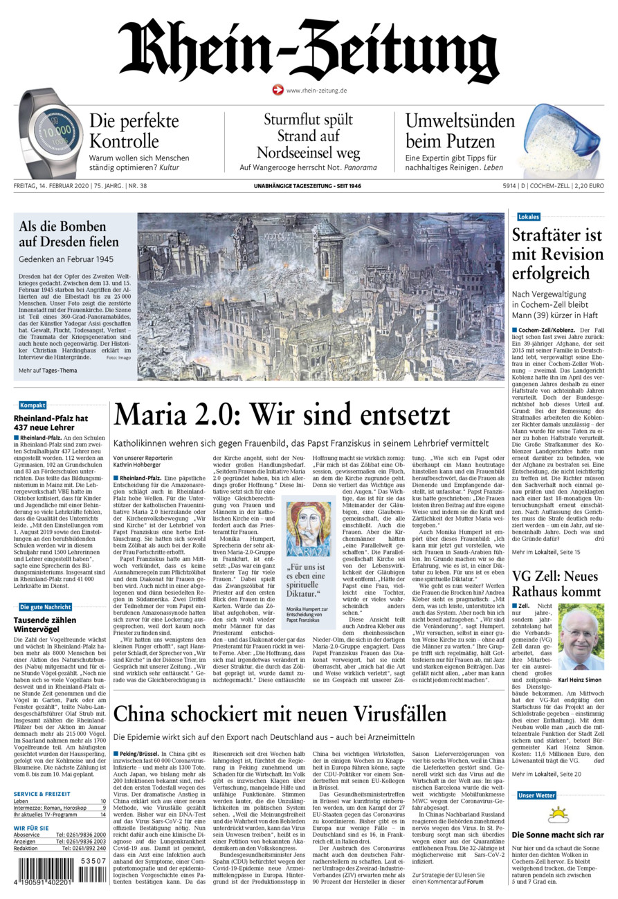Rhein-Zeitung Kreis Cochem-Zell vom Freitag, 14.02.2020