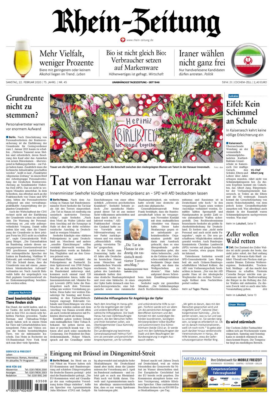 Rhein-Zeitung Kreis Cochem-Zell vom Samstag, 22.02.2020