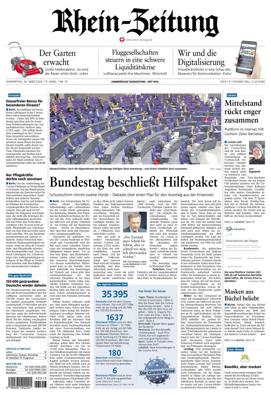 Rhein-Zeitung Kreis Cochem-Zell vom Donnerstag, 26.03.2020