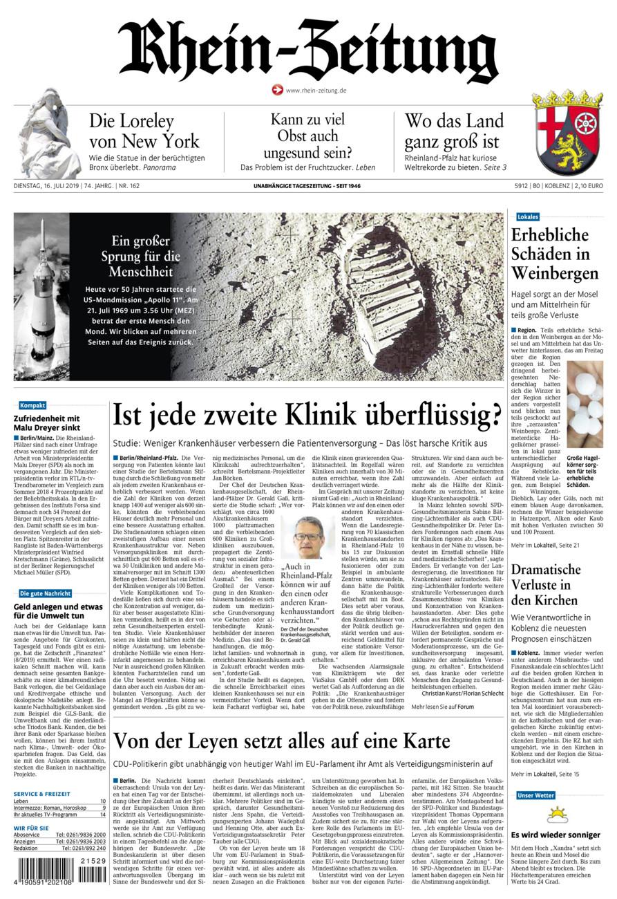 Rhein-Zeitung Koblenz & Region vom Dienstag, 16.07.2019
