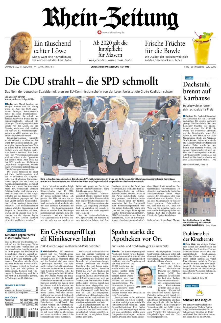 Rhein-Zeitung Koblenz & Region vom Donnerstag, 18.07.2019