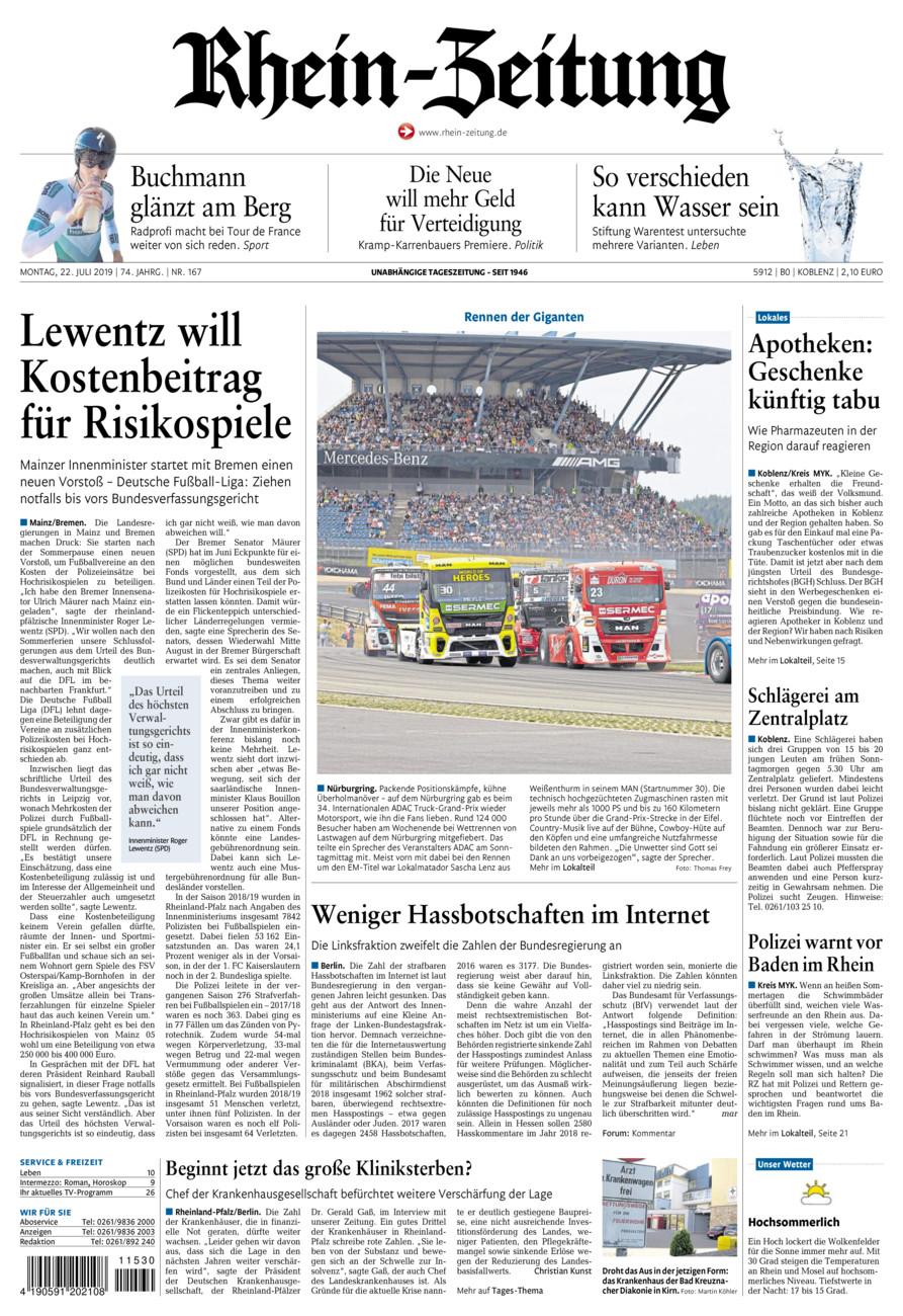 Rhein-Zeitung Koblenz & Region vom Montag, 22.07.2019