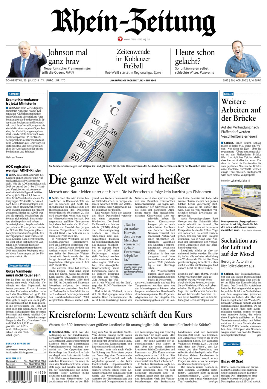 Rhein-Zeitung Koblenz & Region vom Donnerstag, 25.07.2019