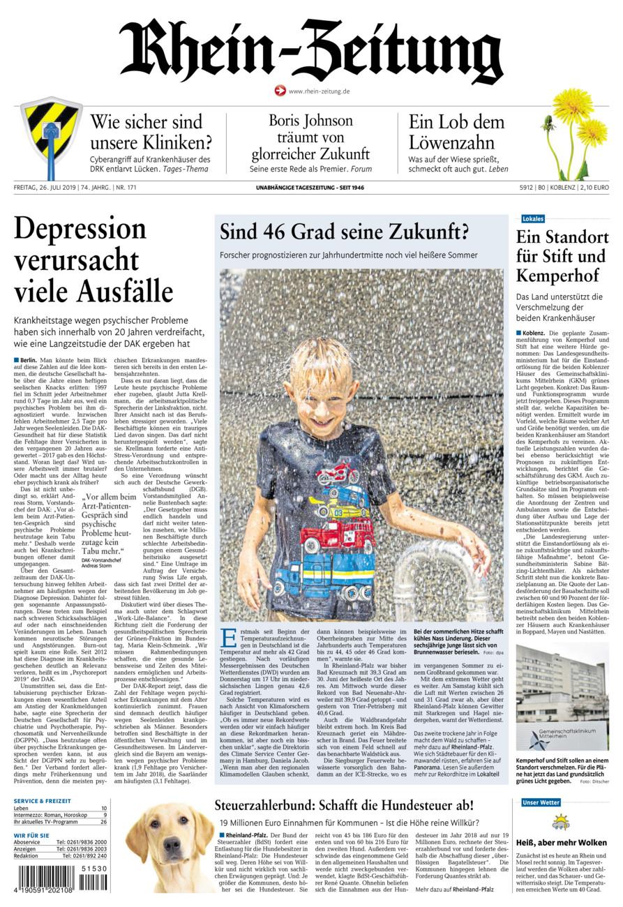 Rhein-Zeitung Koblenz & Region vom Freitag, 26.07.2019