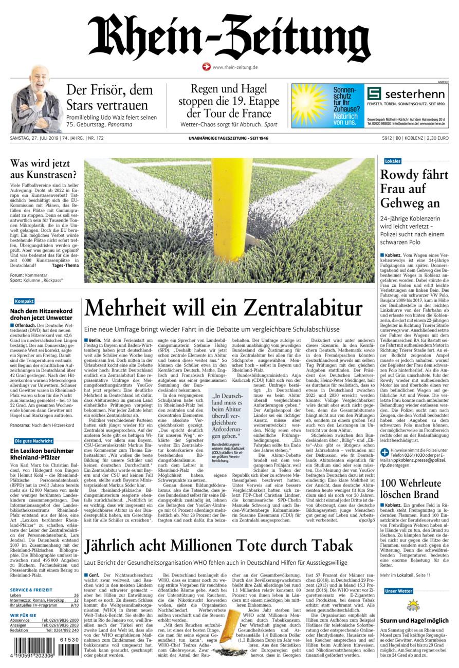 Rhein-Zeitung Koblenz & Region vom Samstag, 27.07.2019