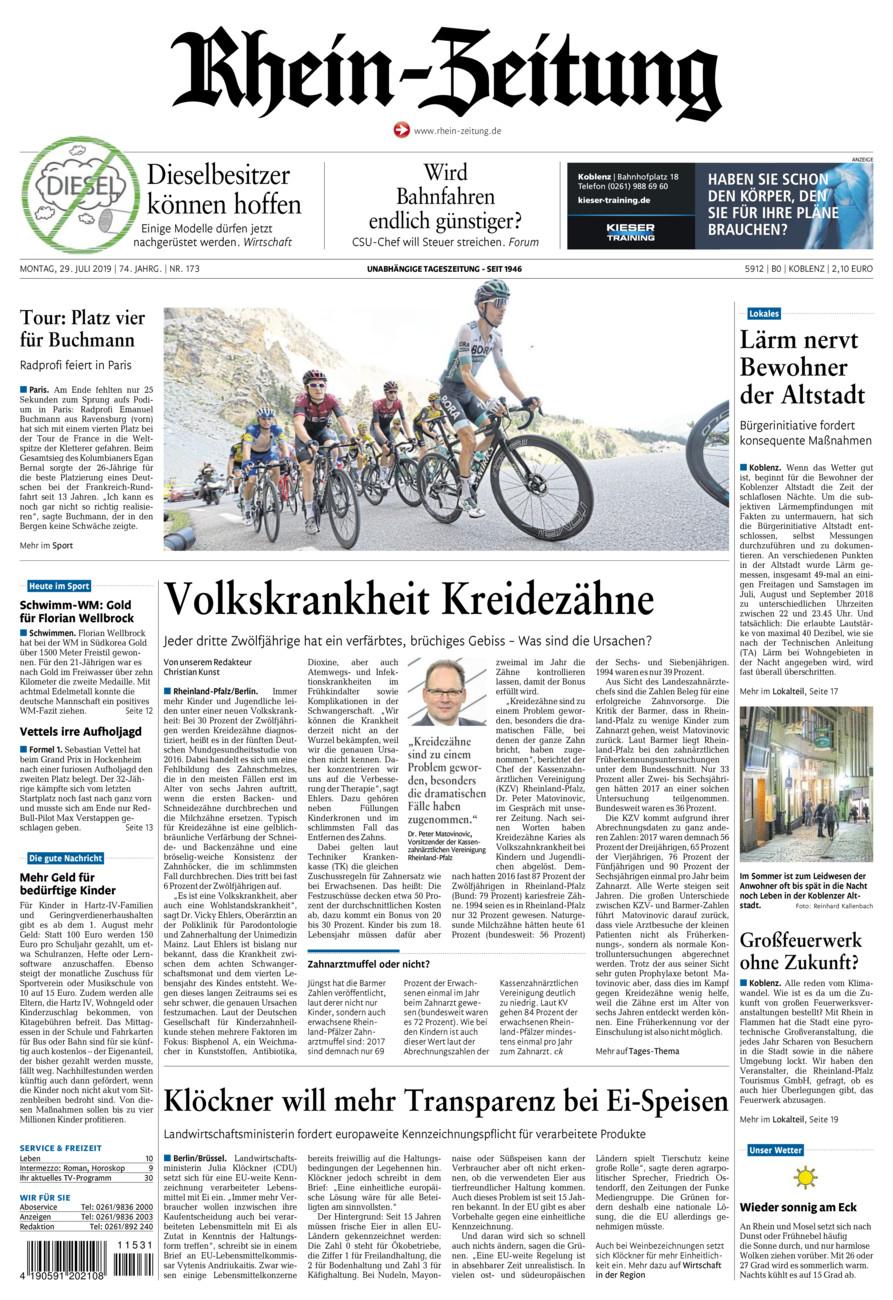 Rhein-Zeitung Koblenz & Region vom Montag, 29.07.2019