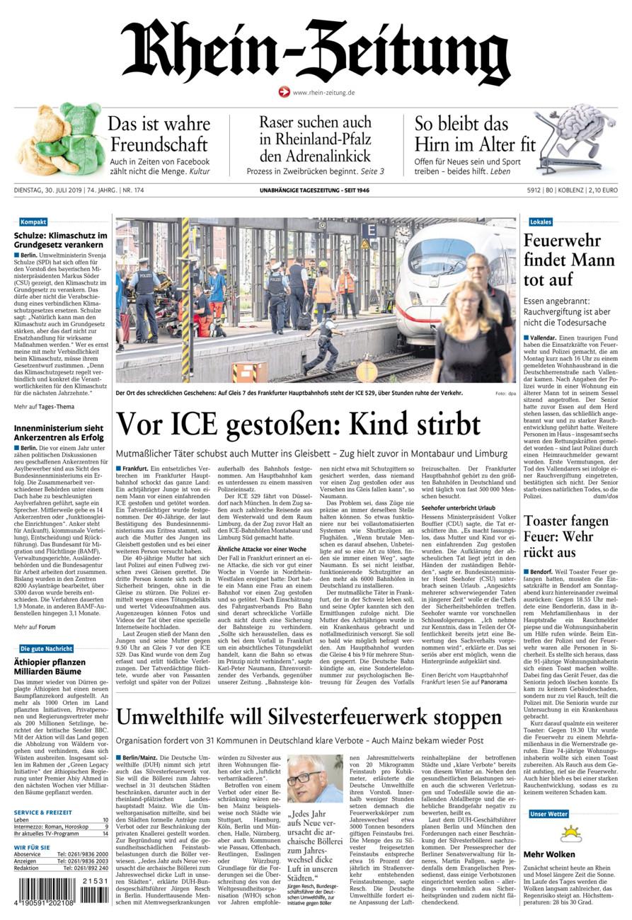 Rhein-Zeitung Koblenz & Region vom Dienstag, 30.07.2019