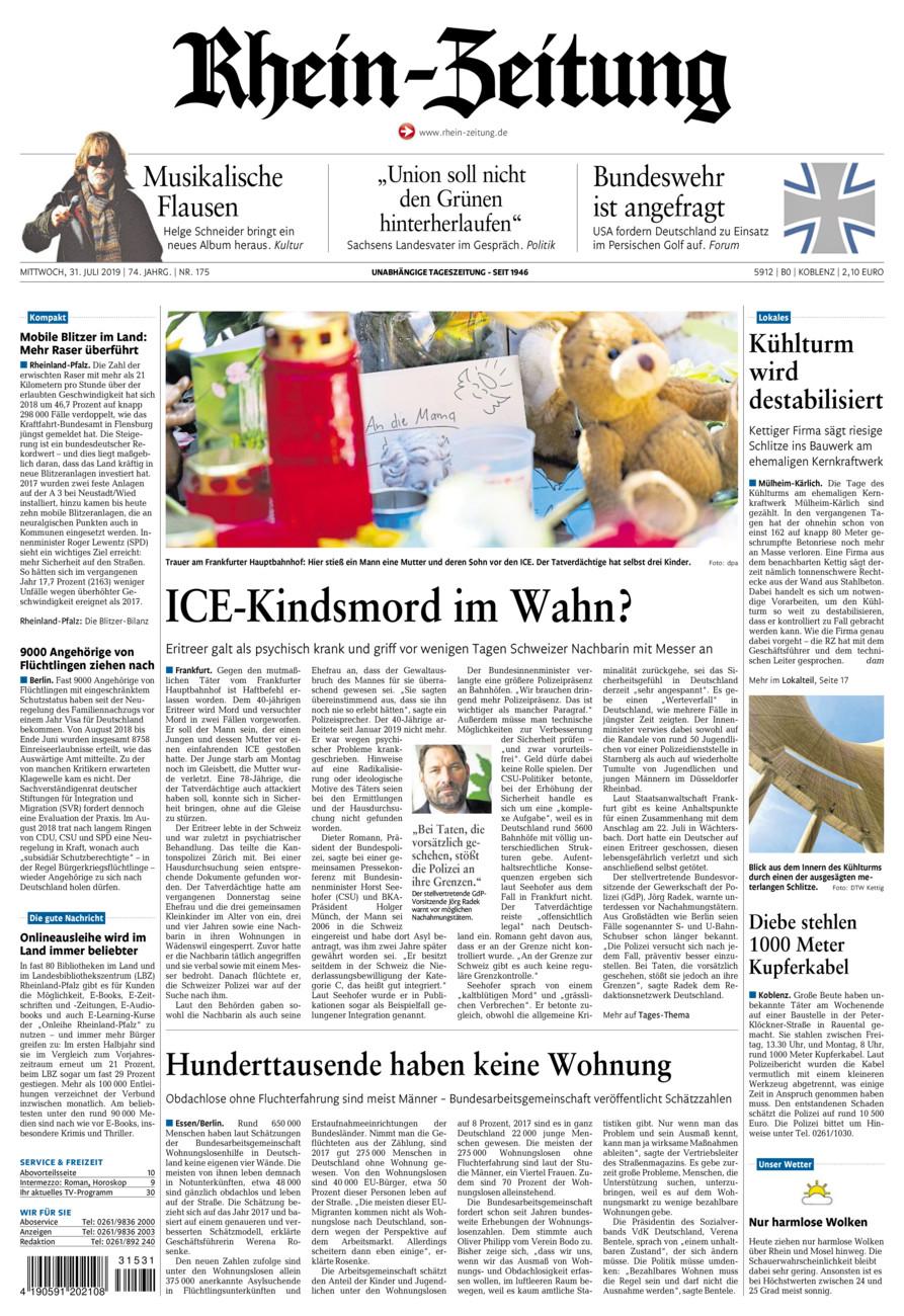 Rhein-Zeitung Koblenz & Region vom Mittwoch, 31.07.2019